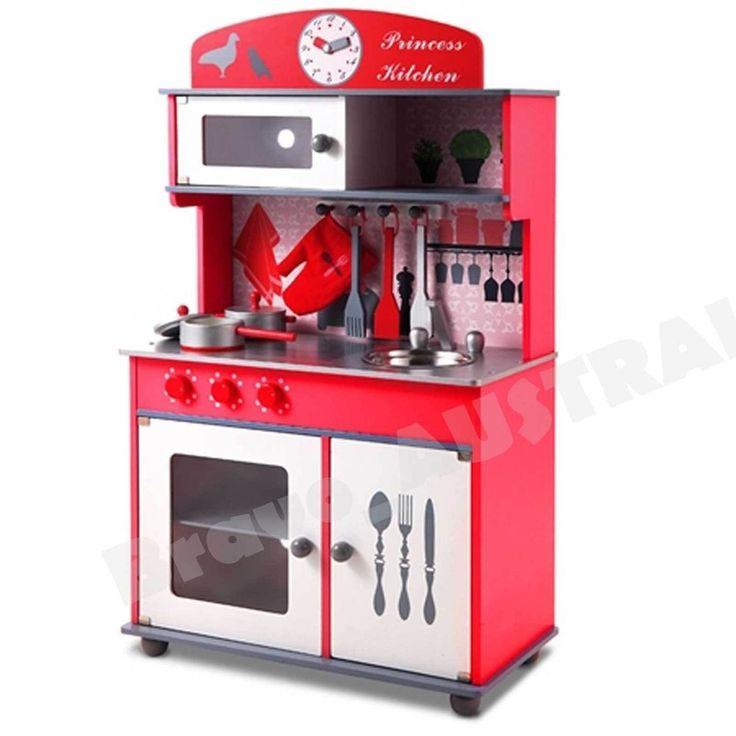 Wooden Kitchen Pretend Play Set Toy Kids Cooking Home Children Cookware Red