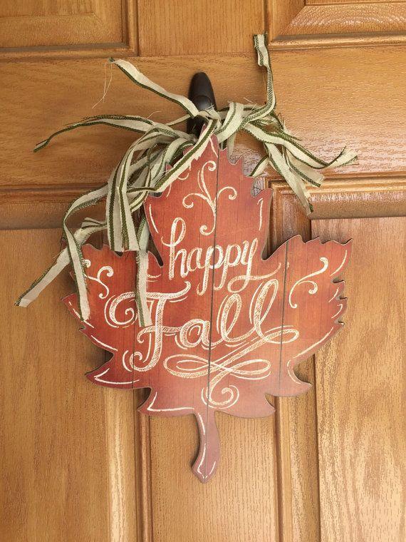 Rustic fall leaf door hanger by SeelyWerks on Etsy