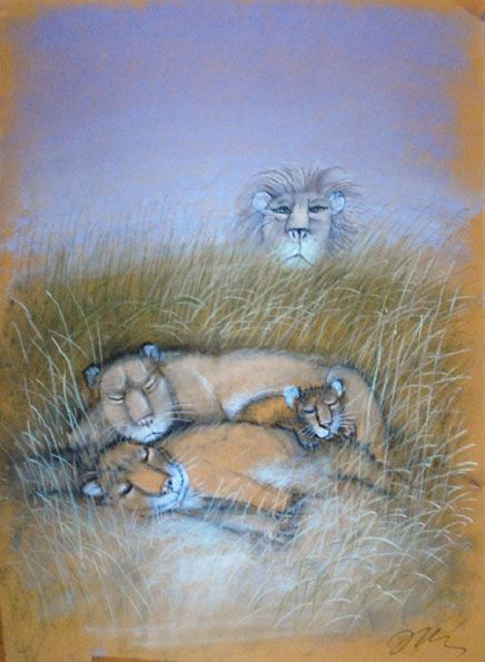 "Illus by Józef Wilkoń for ""Hugo's Little Brother."" Pastels."