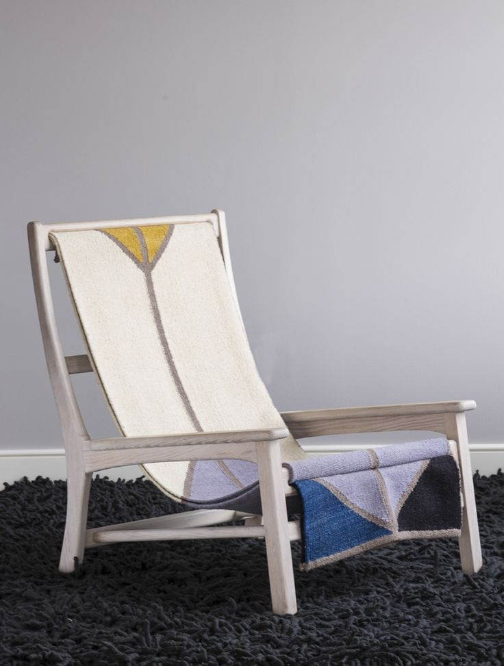 Sling Chair (Oak) by Michael Yates • WorkOf woven colorful sling