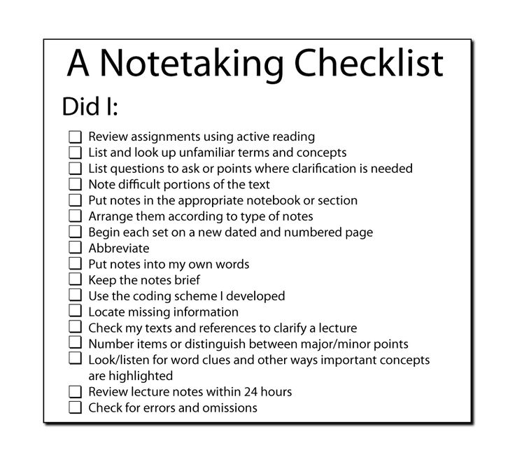 Image of the notetaking checklist