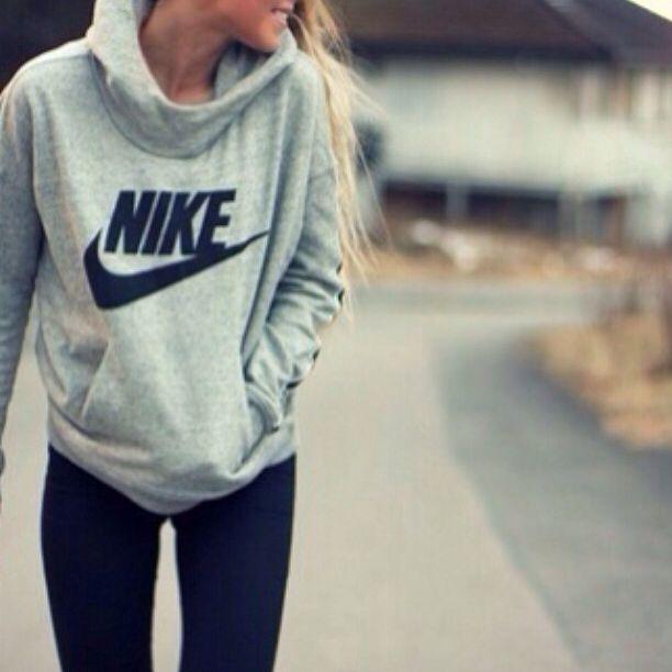 nike hoodie + yoga pants