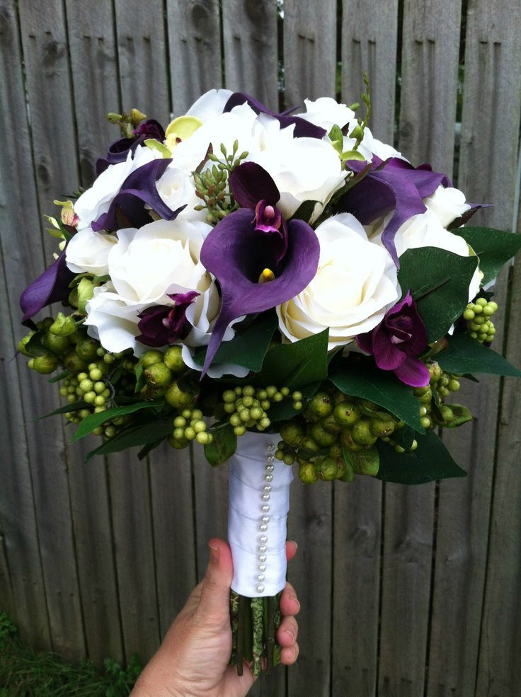 white roses and purple calle lillies | artificial white rose and purple calla lily bouquet