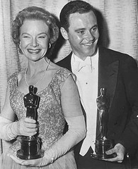 """Jo Van Fleet - Best Supporting Actress Oscar for """"East of Eden"""" and Jack Lemmon - Best Supporting Actor Oscar for """"Mister Roberts"""" 1955"""