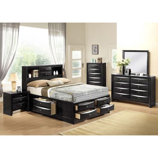 Ireland Black 4-piece Storage Bedroom Set