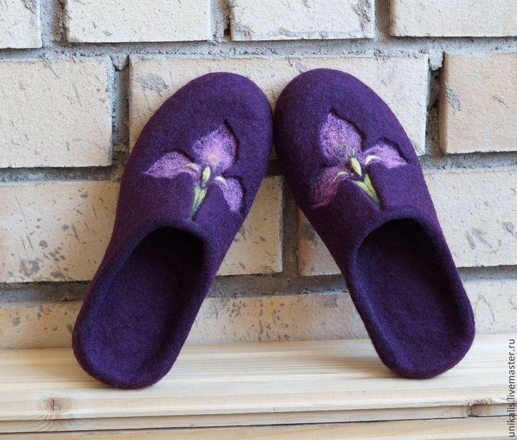 """Купить Валяные тапочки """"Iris. Watercolor sketch."""" - пурпурный цвет, баклажановый, валяные тапочки"""