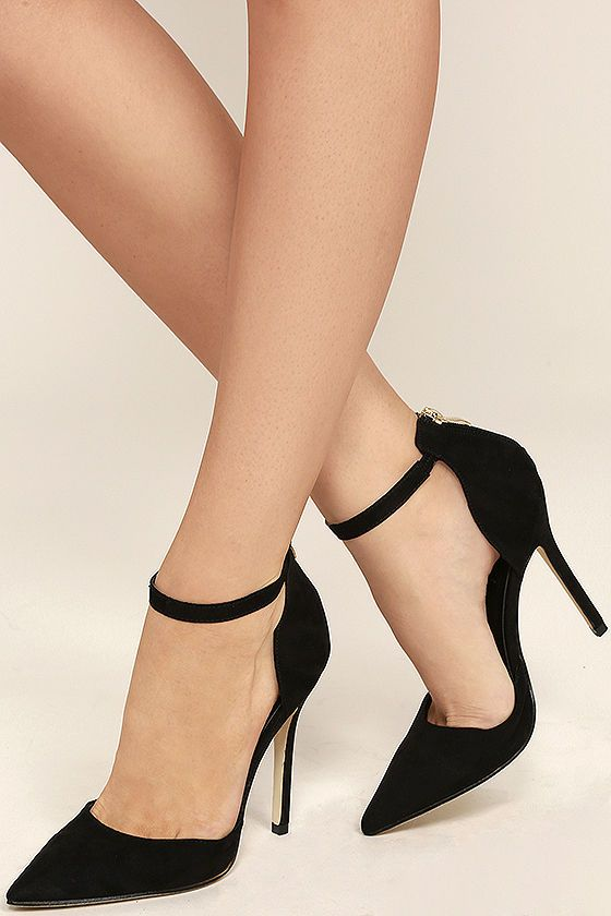 "The Harvest Party Black Suede Ankle Strap Heels will add a touch of class to your next holiday celebration! A vegan suede pointed-toe upper has a matching heel cup, with 3"" zipper, and ankle strap."