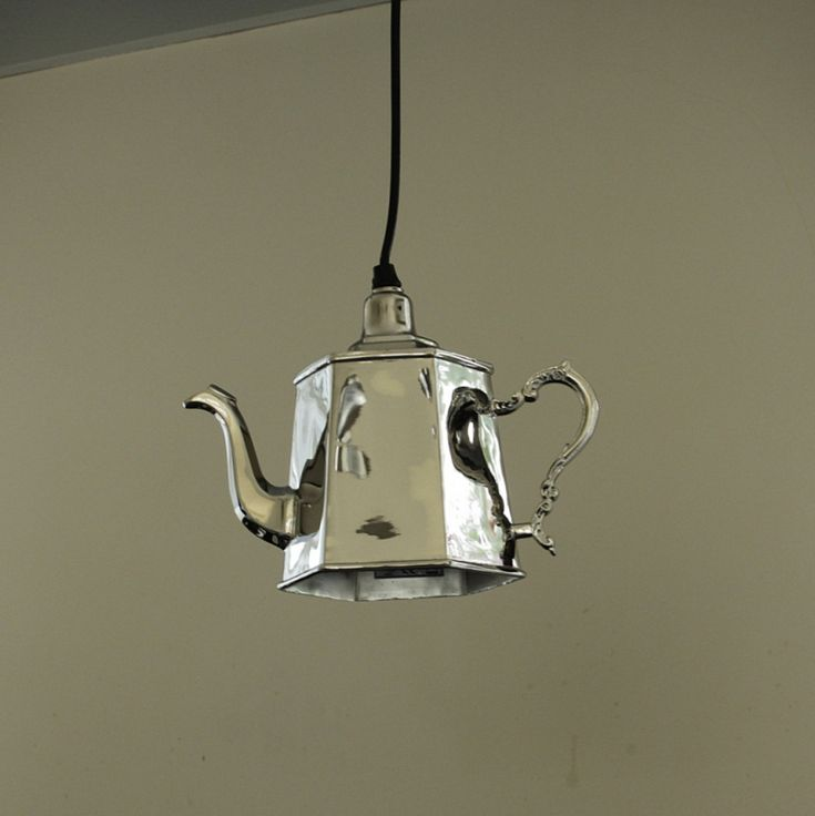 Hanging Silver Metal Hexagonal Teapot Light Ing Vintage Chic Home Lighting In Furniture Diy Ceiling Lights Chandeliers