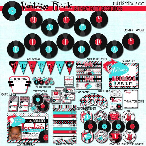 20 best images about 50 39 s themed birthday party on pinterest how to make candy 60th birthday - Rock and roll theme party decorations ...