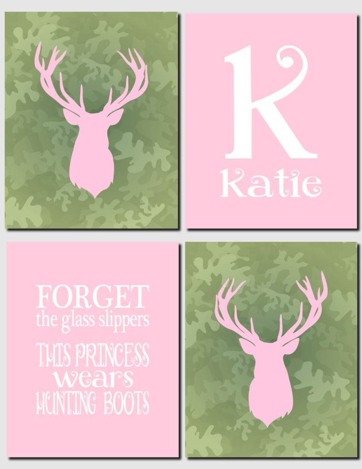 Hunting Theme Girls Room Decor Canvas or Prints Deer Personalized Initial Forget the Glass Slippers Pink Green Bucks Hunting Season Set of 4 by vtdesigns on Etsy