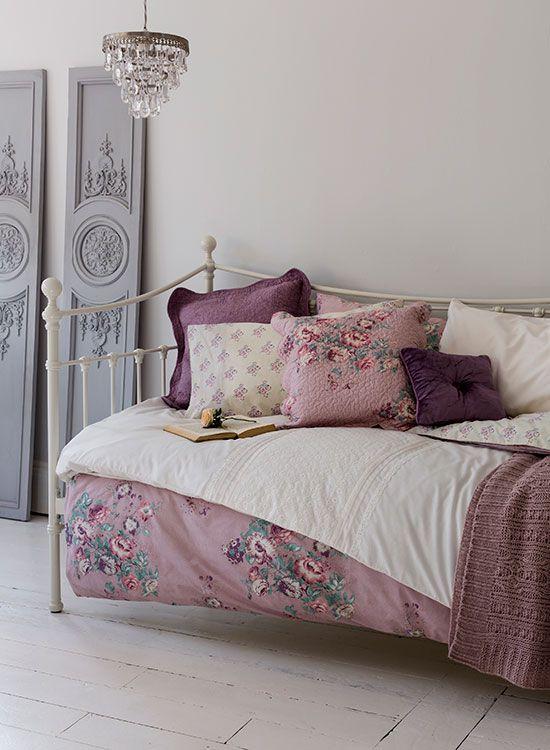 Mauve square button cushion & mauve antique floral quilted cushion, Sainsburys