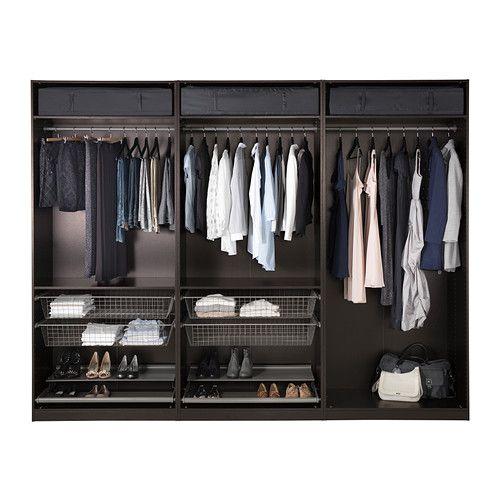 PAX Wardrobe, black-brown, Nexus black-brown black-brown Nexus black-brown soft closing hinge - 118 1/8x23 3/4x93 1/8