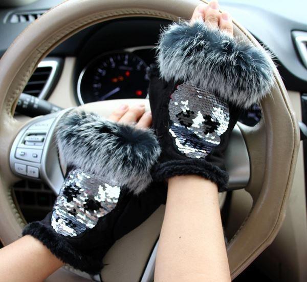 "Genuine Suede & Fur & Sequins ""Fingerless"" Mittens"
