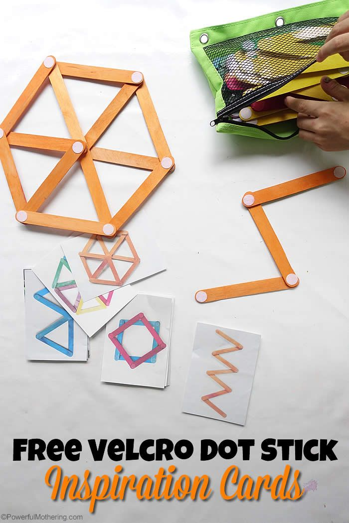 Velcro Dot Craft Stick Building Cards - awesome for little builders as an ideas to get them inspired!