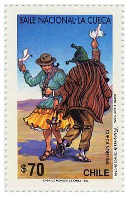 Emisión 1993 Motivo Baile nacional La Cueca no.1631