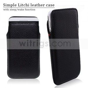 Litchi Grain Pocket Carry Pouch Leather Case for Blackberry Z10 Black