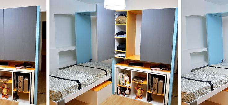 Diseño de recámara: Cama individual, Closet, Pizarrón, Librero, Escritorio y Baúl