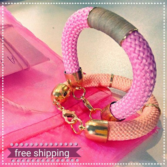 2 Bracelets set double candy from cotton rope with by bizeli