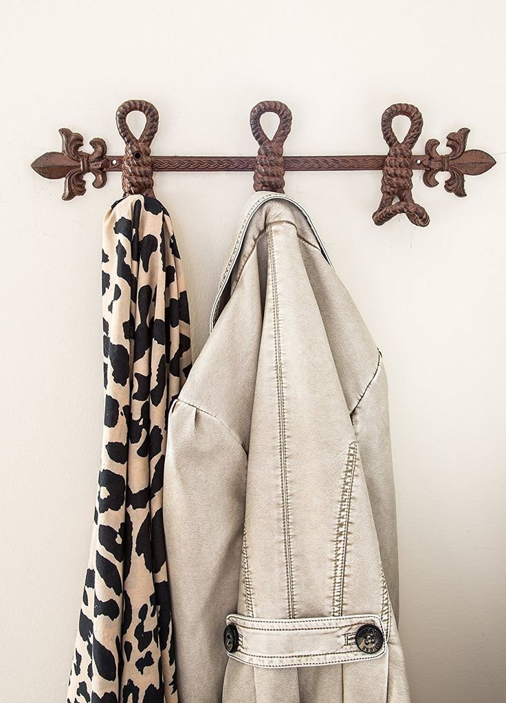 Cast iron towel holder fleur de lis and marine knots with 4 hooks decorative - Fleur de lis towel bar ...