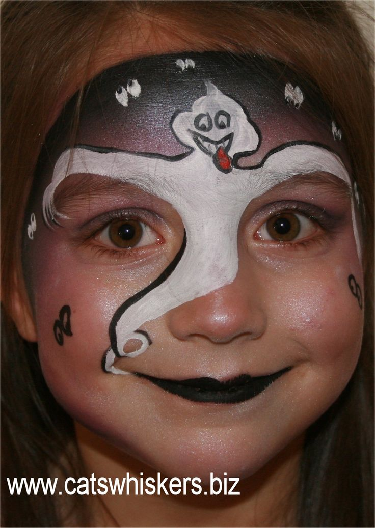 ghost face painting design from wwwcatswhiskersbiz - Female Halloween Face Painting