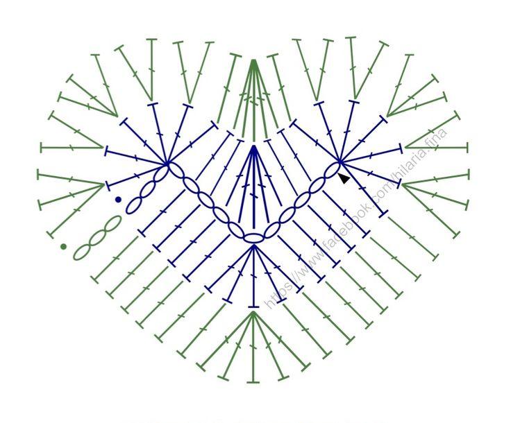 Crochet Doily Heart Part I - Chart ❥ 4U hilariafina  http://www.pinterest.com/hilariafina/