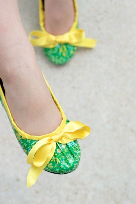 Duct tape ballet flats--perfect for when shoes begin to look run down at the toe but the sole is still good