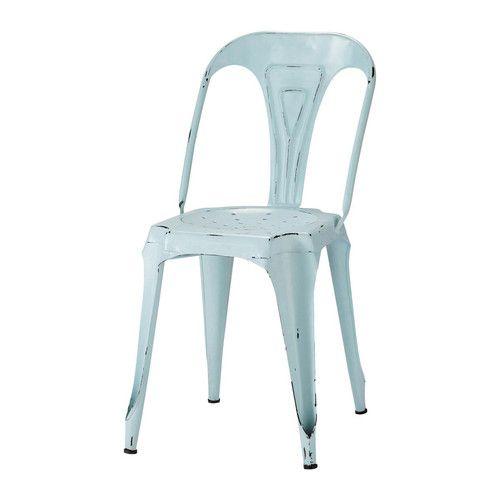 Chaise indus bleu vintage