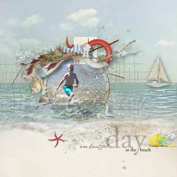 Waves - I've used the fabulous By The Sea bundle by Natali Designs at SBG, it's just perfect for all those summer pic. Photo is my darling grandson.