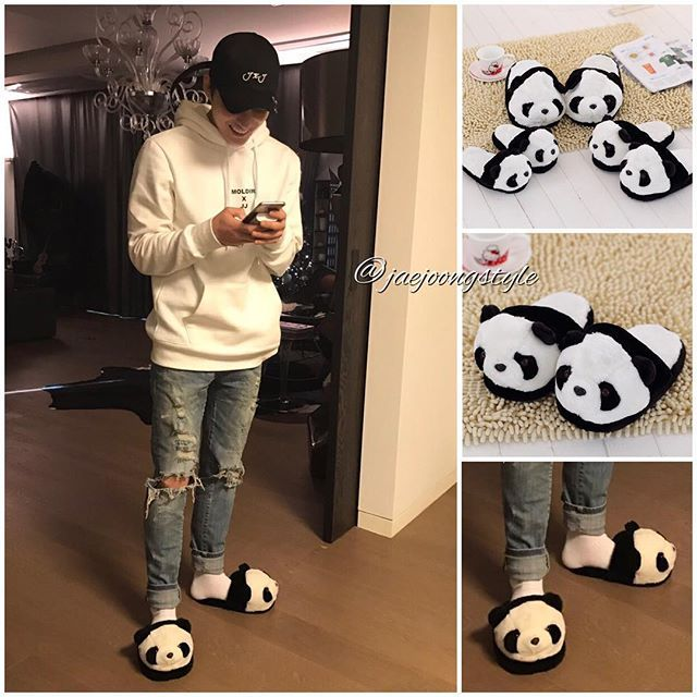 #kimjaejoong seen wearing cute panda slippers.  They come in three sizes (kids, womens and mens). Sold by TGG DECAL at Amazon ($18.99) or Lucy Fashion Apparel Store at AliExpress ($19.79). Credit: #JYJ Line, Amazon and Ali Express. #jaejoong #jaejoongisback #김재중