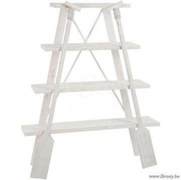 J-Line Landelijke Wit houten Rek met 4 planken en 2 peddels roeispanen hout Jline-by-Jolipa-71400