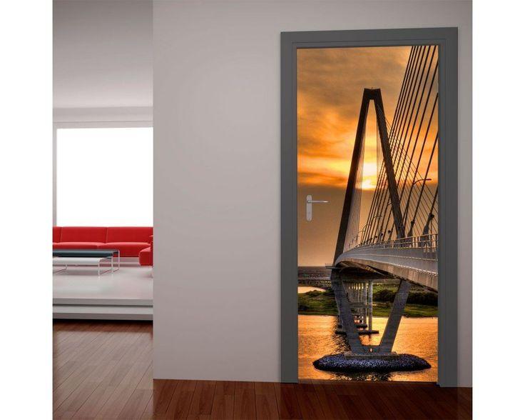 Γέφυρα στο ηλιοβασίλεμα, αυτοκόλλητο πόρτας , δείτε το!