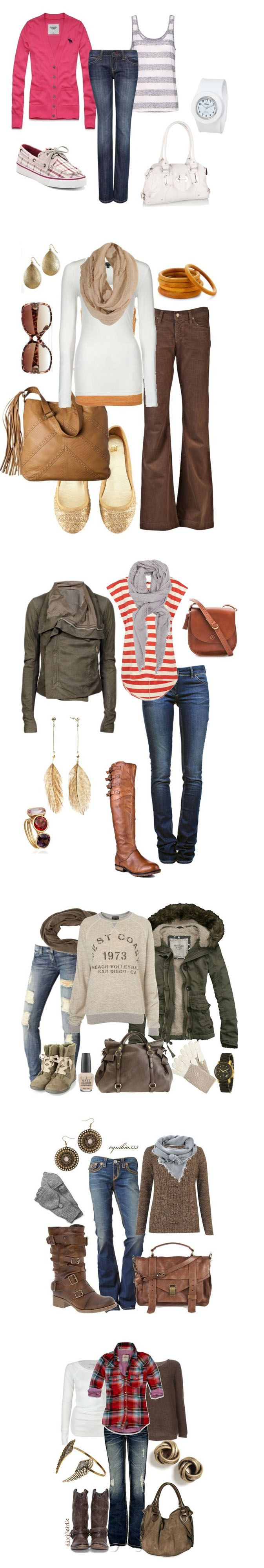 I like the chocolate brown jeans/pants, the scarves, the tan purse, the rose colored outfit. most of it is so me!