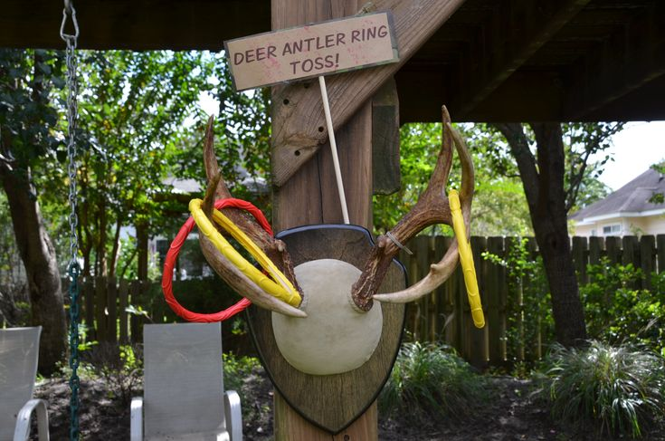 Antler ring toss! The rings were pool toys that we got at Walmart.