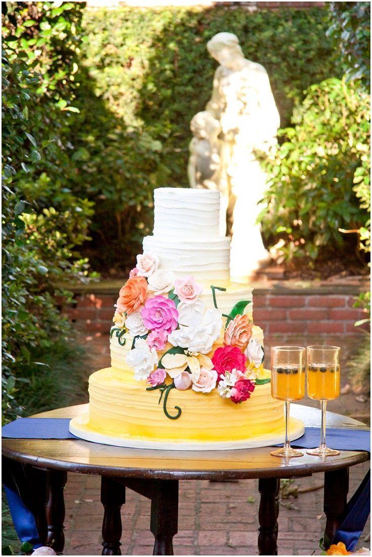 Yellow Ombre Wedding Cake With Pink Orange And Fuchsia Sugar