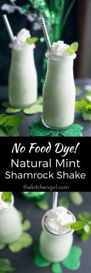 Eat cleaner on St. Pat's with No Food Dye Mint Shamrock Shake made with spearmint leaves! thekitchengirl.com #stpats #stpatsfood #stpatricksday #shamrockshake #spearmint #nofooddye #nofoodcoloring
