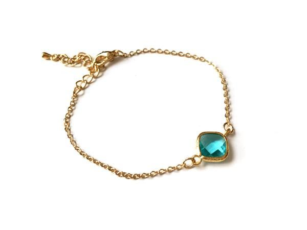 Aquamarine crystal with 14K gold plated