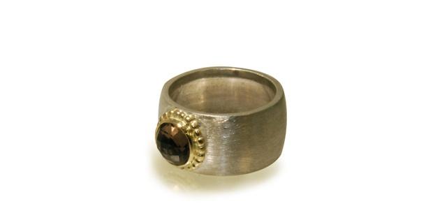 Ring, Zilver/goud/rookkwarts