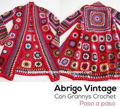 como tejer abrigo tapado crochet con grannys... Beautiful granny square jacket sweater... Free crochet diagrams and layout for squares!!