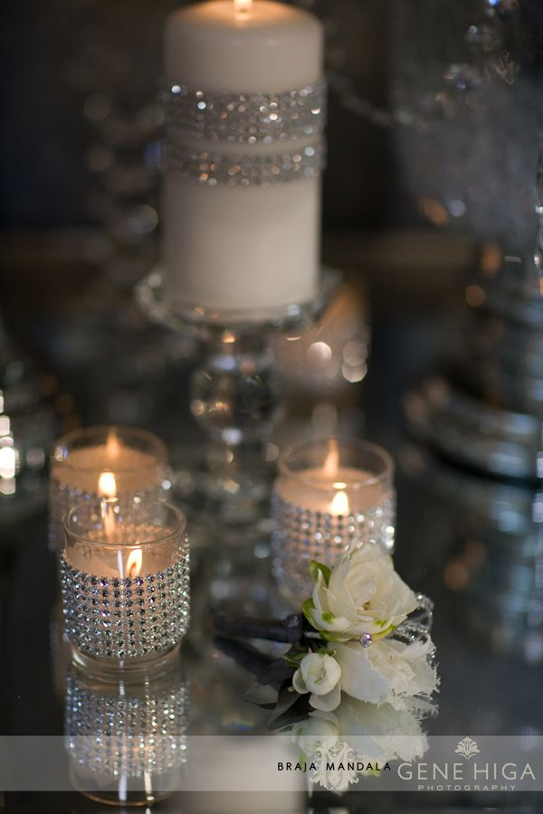 Diamante crystals around votives and candles