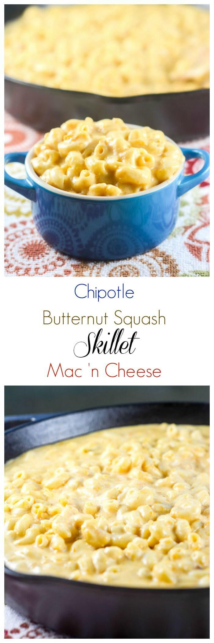 Chipotle Butternut Squash Skillet Mac 'n Cheese is a quick and easy ...