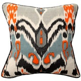Ikat Print with Black Patent Piping Pillow Pair  #LGDreamFoyer