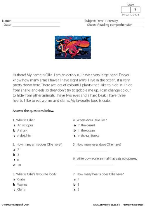 New worksheet just added: PrimaryLeap.co.uk - Reading comprehension - Ollie the Octopus Worksheet