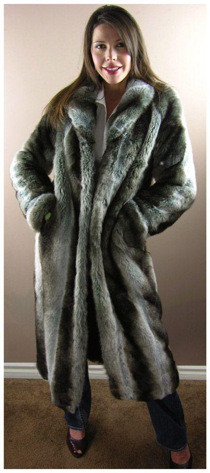 CHINCHILLA <br> 49 inches Faux Fur Coat