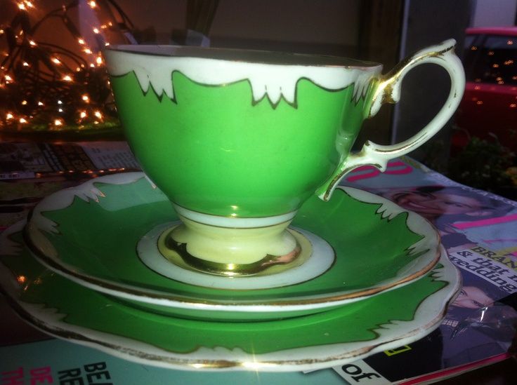 Pretty Green Tea Cup