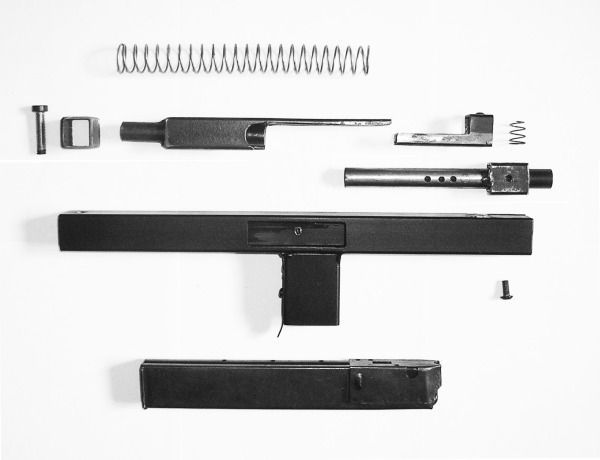 Extremely simple, ultra compact clandestine submachine gun