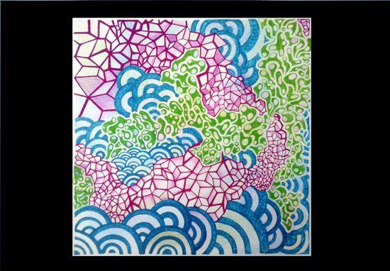 Dynamische processen, fineliner en kleurpotlood op papier Formaat ± 15 x 15 cm