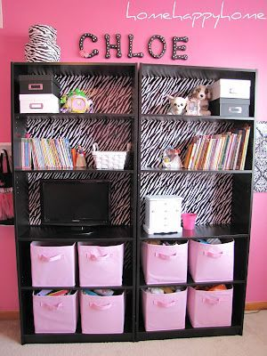 """bookcase upcycle - beautiful result used """"zebra print wrapping paper and double sided tape"""" #Zebrabedrooms"""