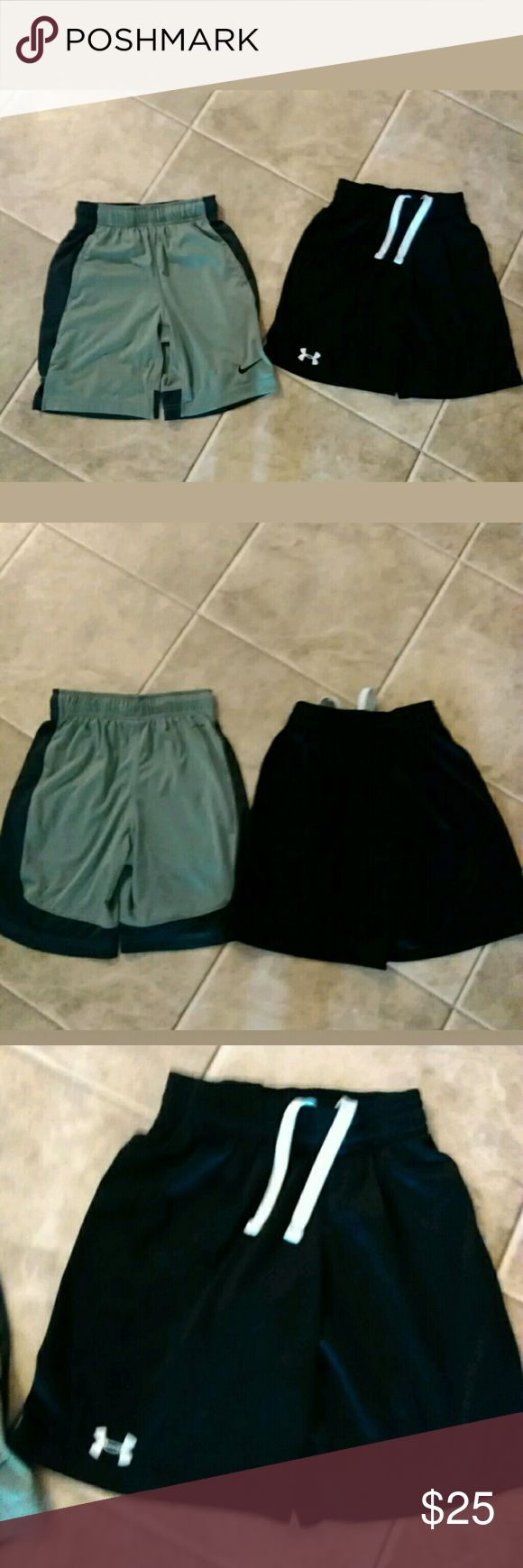 2 pairs if boys size small UA and Nike shorts Boy's nike shorts size small Boy's under armour shorts youth small lot of 2 in excellent condition from a smoke-free home under Armour and nike Bottoms Shorts