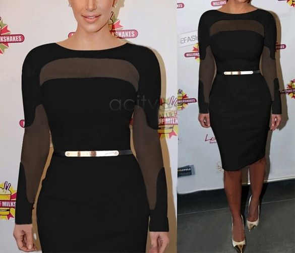 Sheer cutout Illusion Bodycon Dress