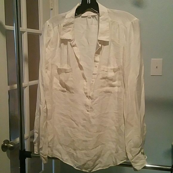 Anne Taylor Loft Blouse Long sleeved viscose shirt with buttons half way down front LOFT Tops Blouses
